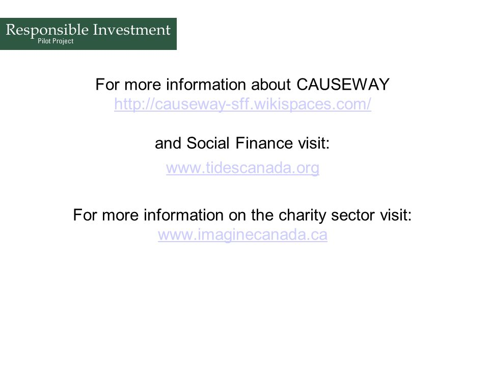 For more information about CAUSEWAY http://causeway-sff. wikispaces
