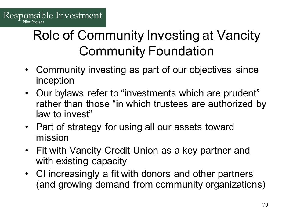 Role of Community Investing at Vancity Community Foundation