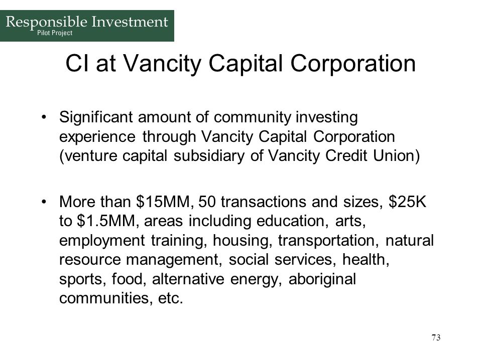 CI at Vancity Capital Corporation