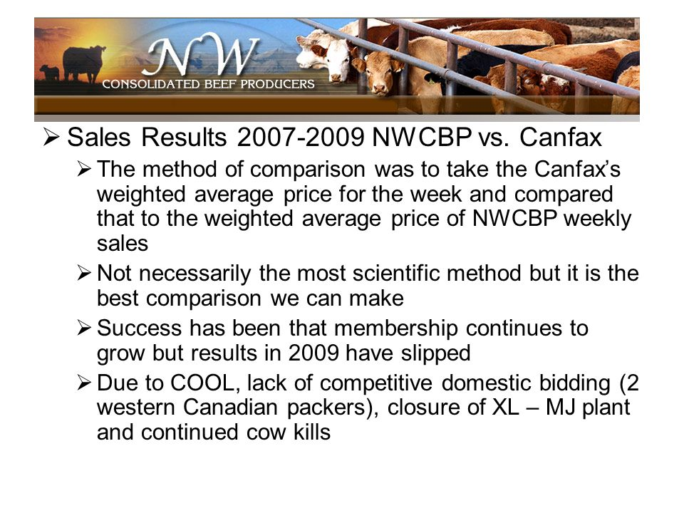 Sales Results 2007-2009 NWCBP vs. Canfax