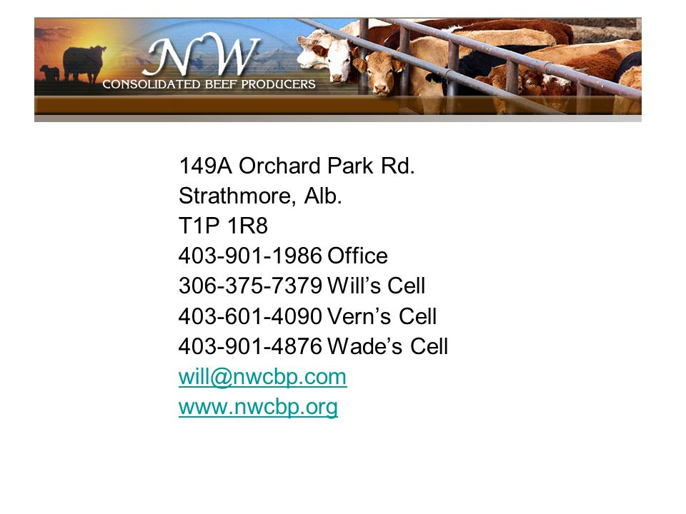 149A Orchard Park Rd. Strathmore, Alb. T1P 1R8. 403-901-1986 Office. 306-375-7379 Will's Cell. 403-601-4090 Vern's Cell.