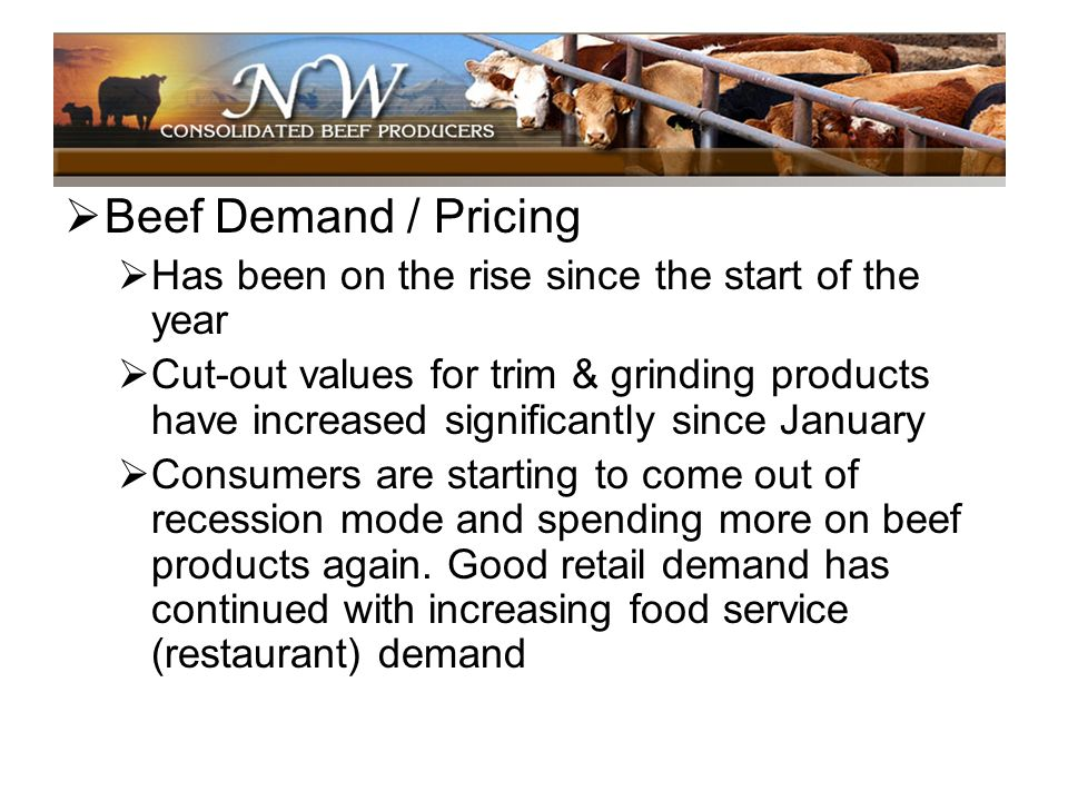 Beef Demand / Pricing Has been on the rise since the start of the year
