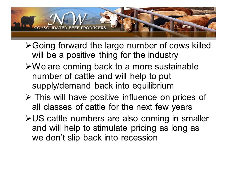 Going forward the large number of cows killed will be a positive thing for the industry