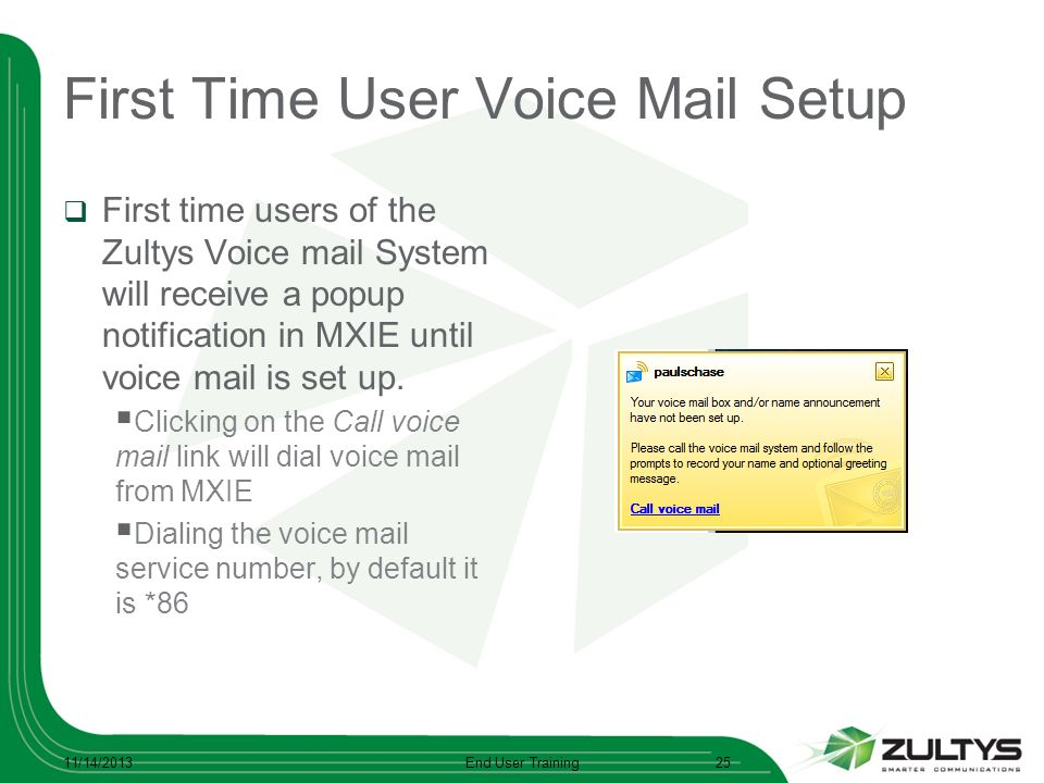 First Time User Voice Mail Setup