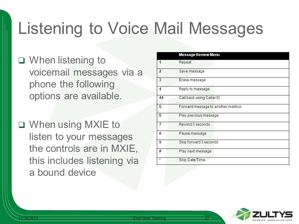 Listening to Voice Mail Messages