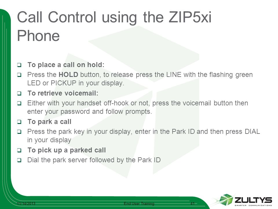Call Control using the ZIP5xi Phone