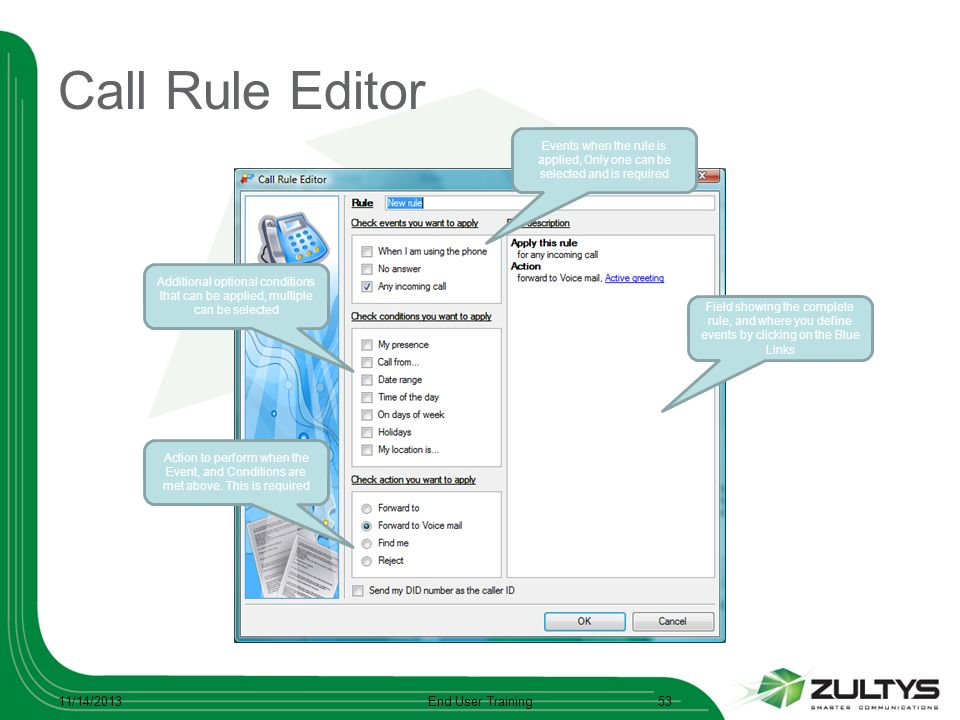 Call Rule Editor 3/25/2017 End User Training