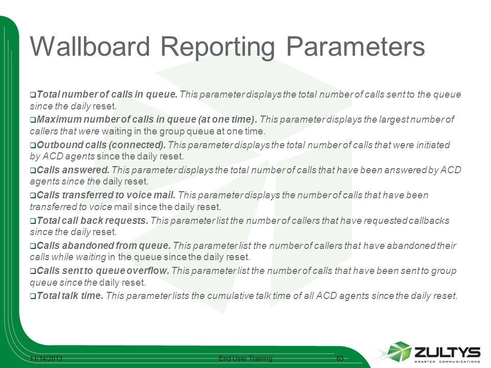 Wallboard Reporting Parameters