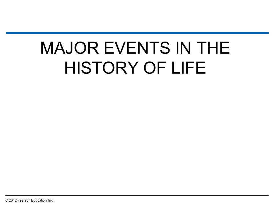 MAJOR EVENTS IN THE HISTORY OF LIFE