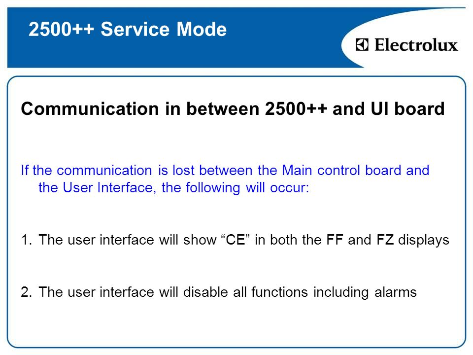 Service Mode Communication in between and UI board