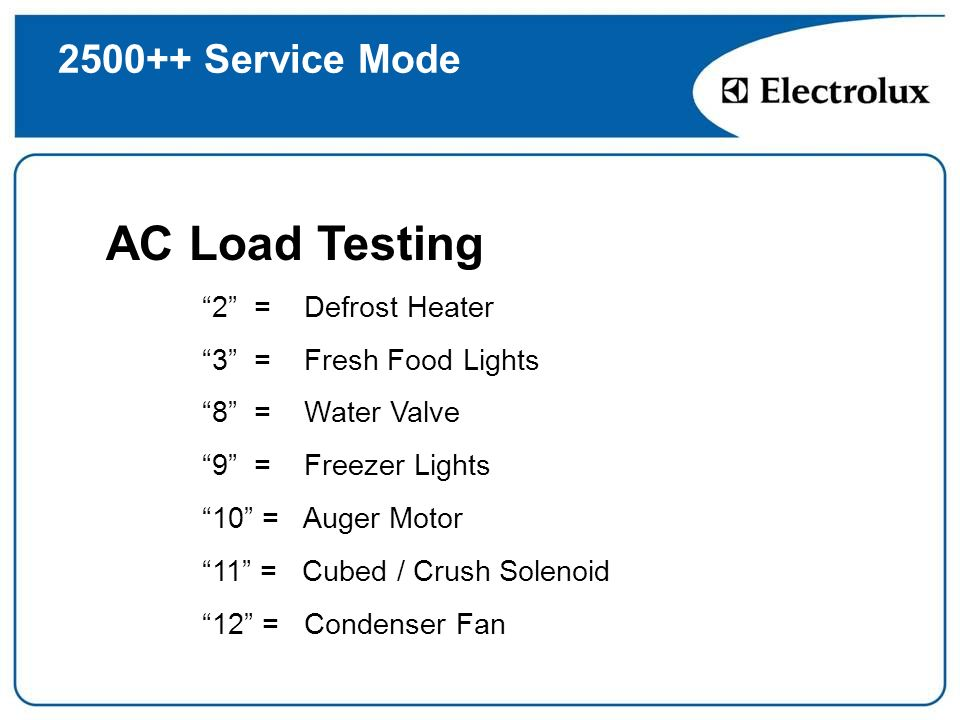 AC Load Testing 2500++ Service Mode 2 = Defrost Heater