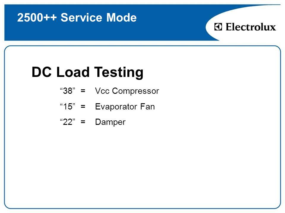 DC Load Testing 2500++ Service Mode 38 = Vcc Compressor