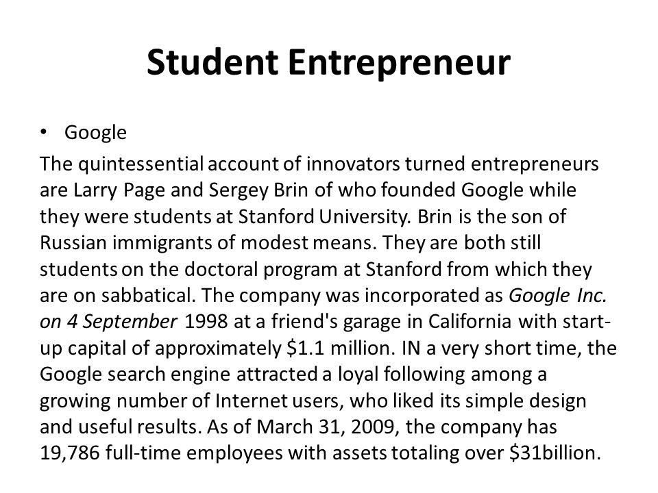 Student Entrepreneur Google