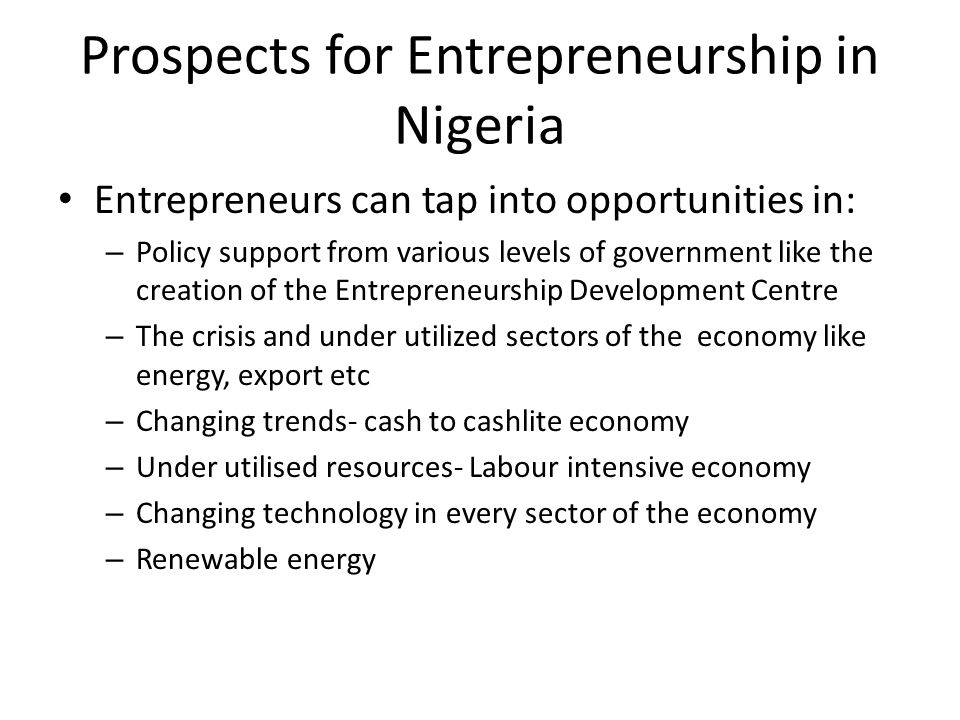 Prospects for Entrepreneurship in Nigeria