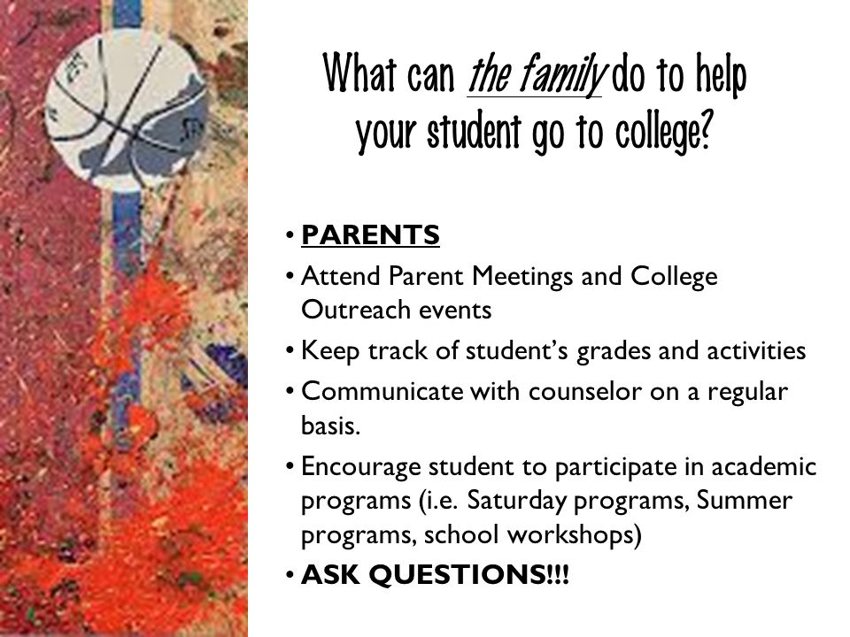 What can the family do to help your student go to college