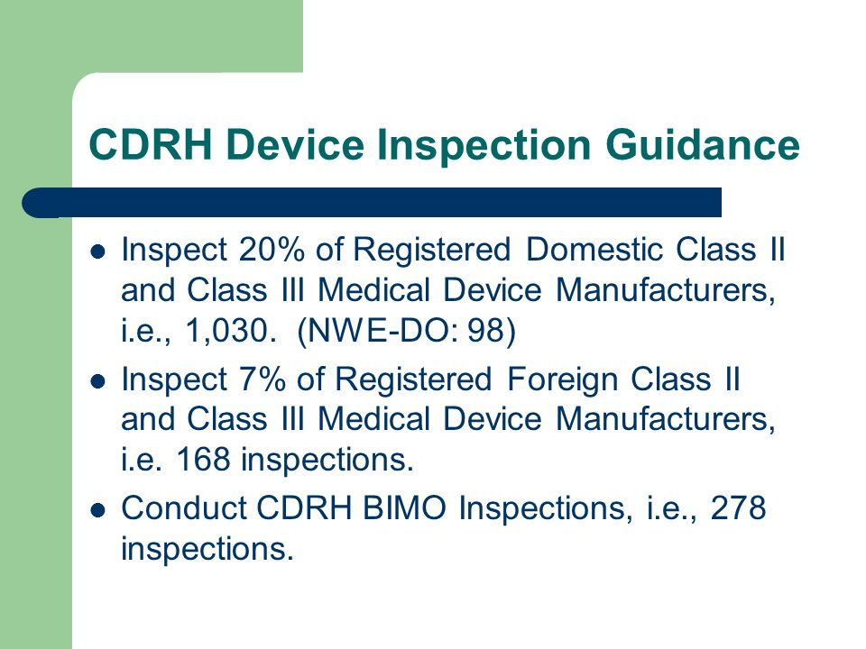 CDRH Device Inspection Guidance