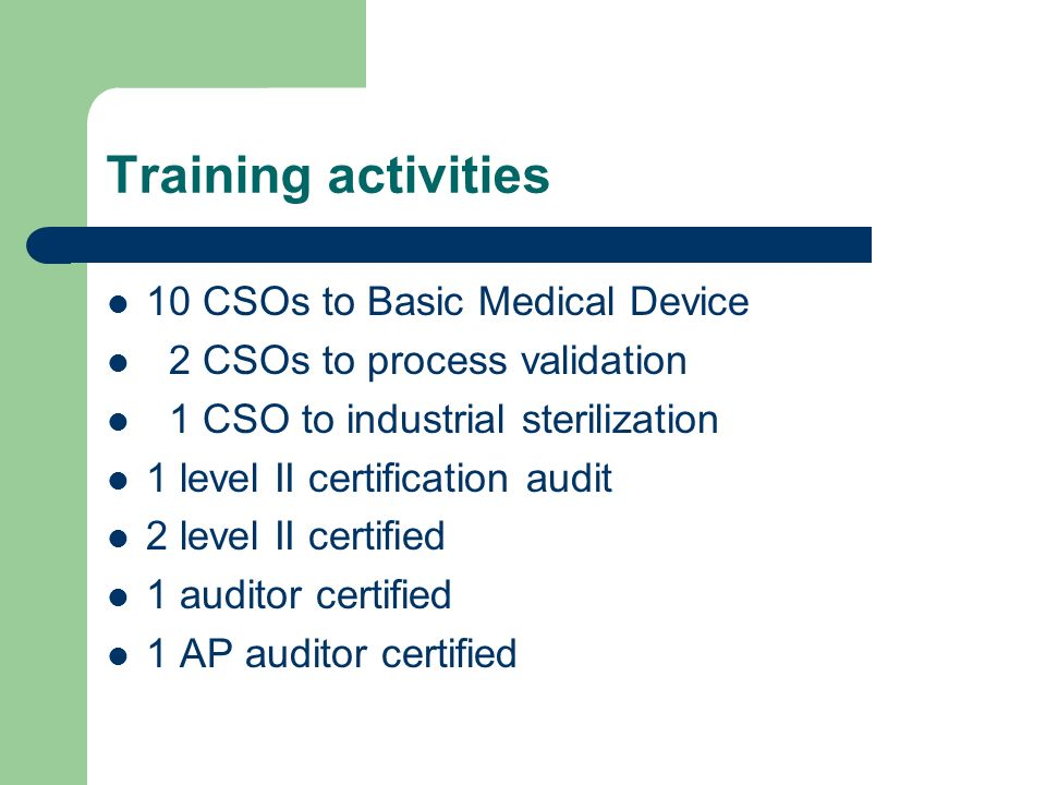 Training activities 10 CSOs to Basic Medical Device