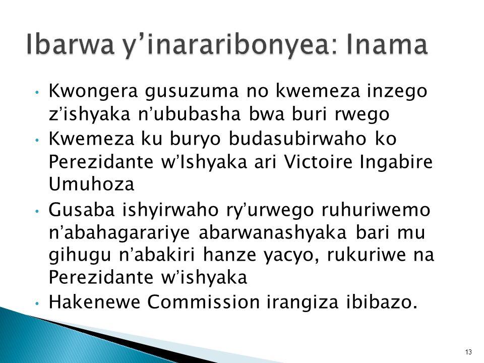 Ibarwa y'inararibonyea: Inama