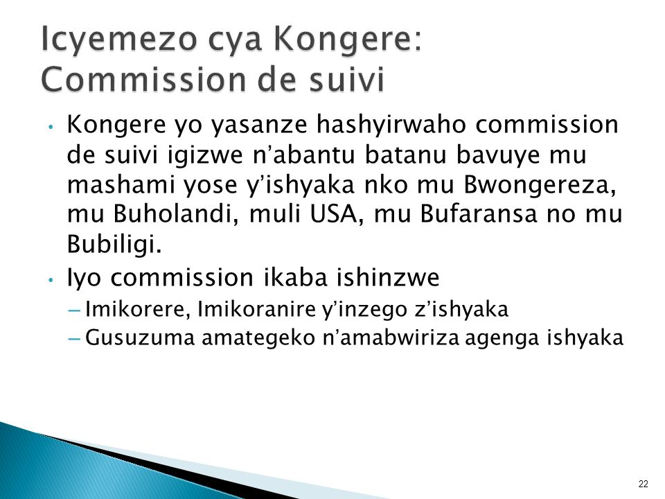 Icyemezo cya Kongere: Commission de suivi