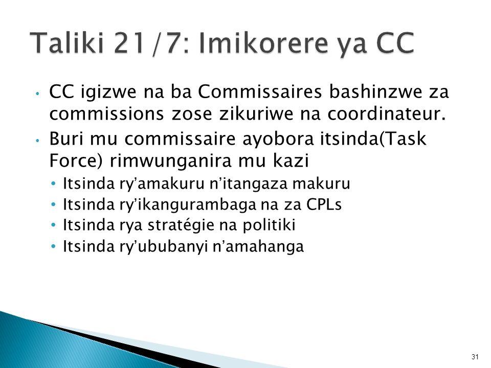 Taliki 21/7: Imikorere ya CC