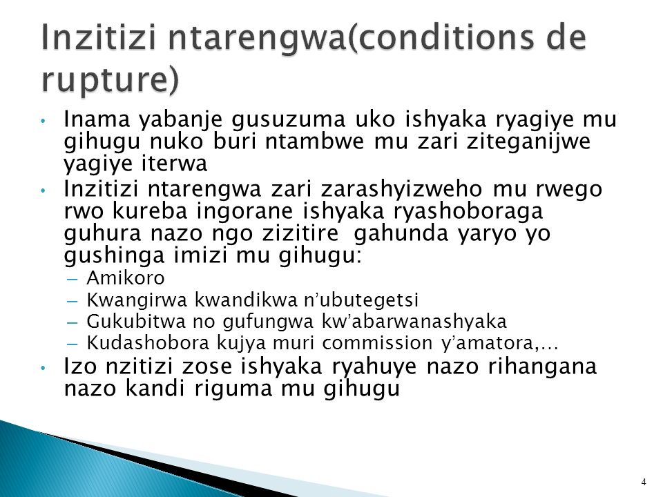 Inzitizi ntarengwa(conditions de rupture)