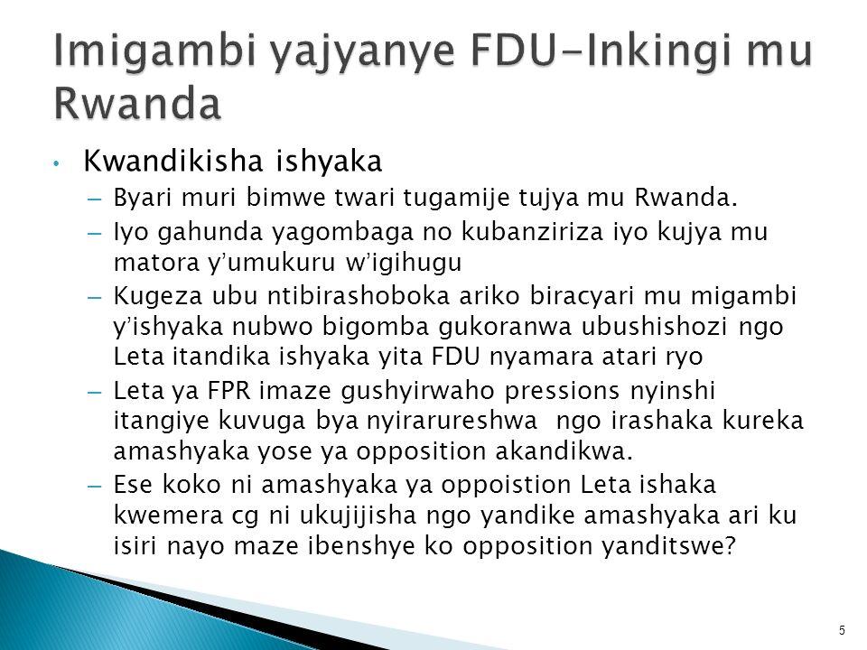 Imigambi yajyanye FDU-Inkingi mu Rwanda