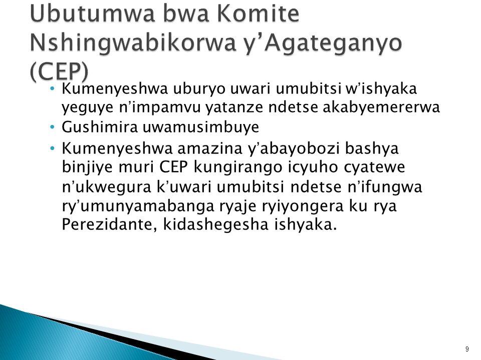 Ubutumwa bwa Komite Nshingwabikorwa y'Agateganyo (CEP)
