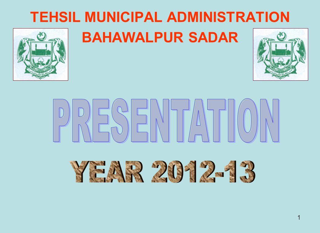 TEHSIL MUNICIPAL ADMINISTRATION BAHAWALPUR SADAR