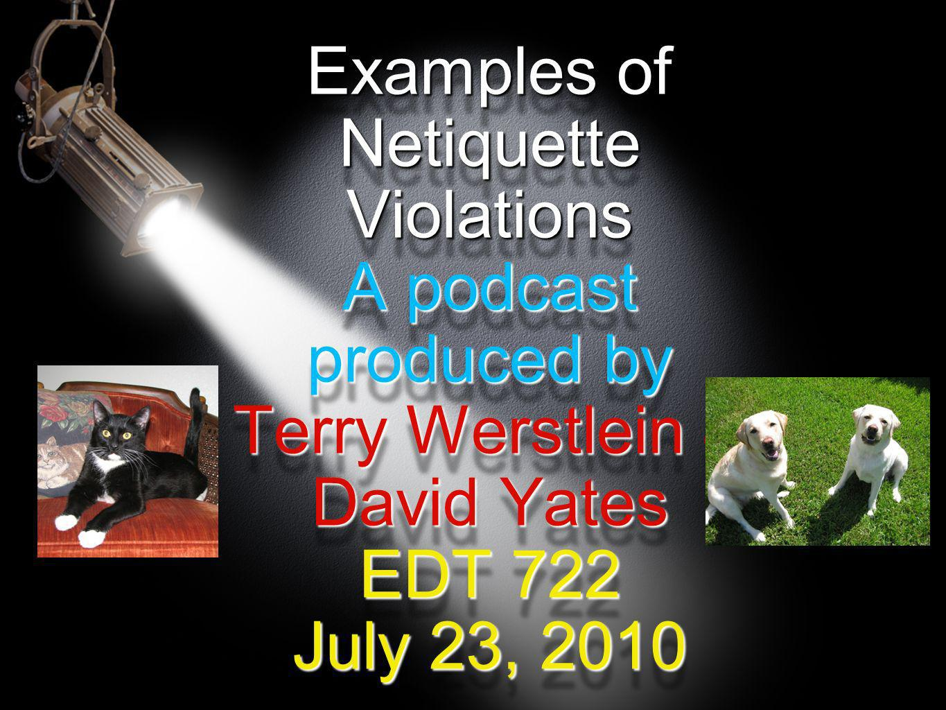 Examples of Netiquette Violations A podcast produced by Terry Werstlein & David Yates EDT 722 July 23, 2010