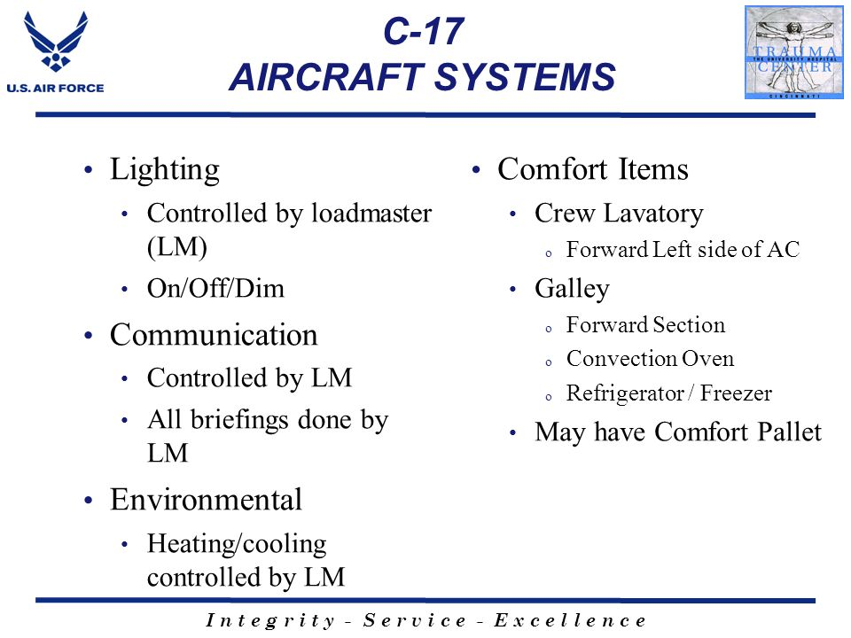 C-17 AIRCRAFT SYSTEMS Lighting Communication Environmental