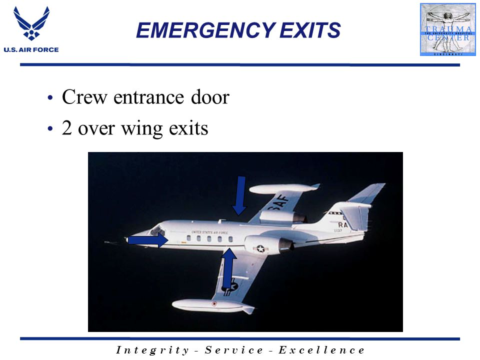 EMERGENCY EXITS Crew entrance door 2 over wing exits
