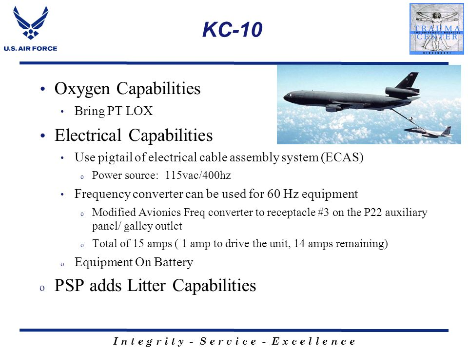 KC-10 Oxygen Capabilities Electrical Capabilities