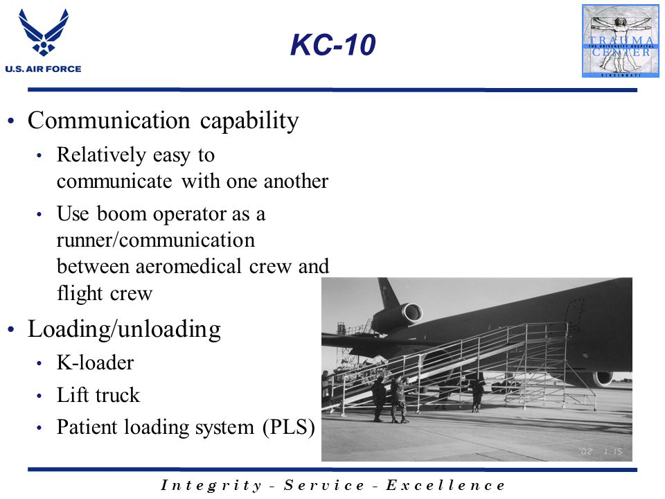 KC-10 Communication capability Loading/unloading