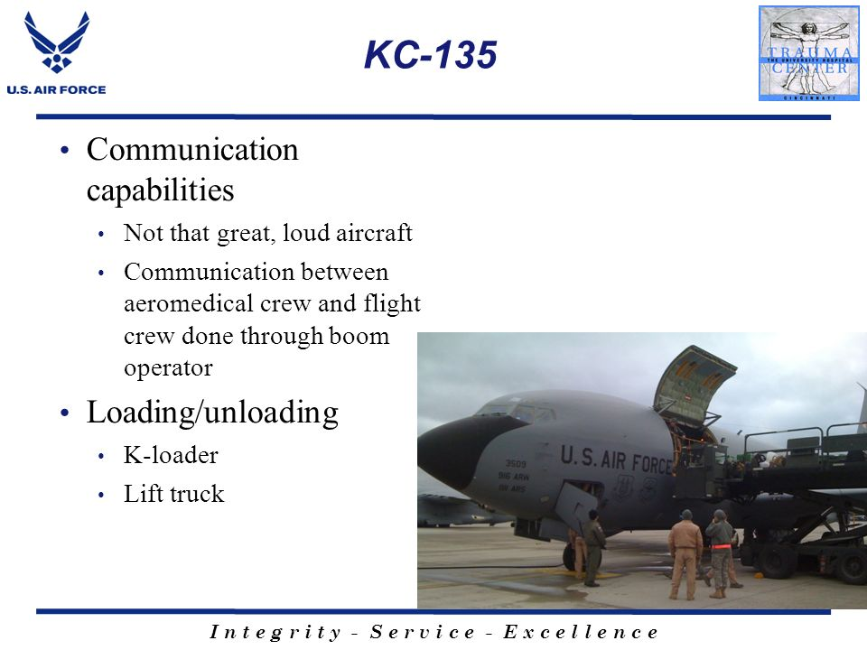KC-135 Communication capabilities Loading/unloading