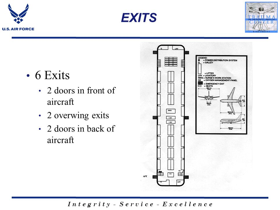 EXITS 6 Exits 2 doors in front of aircraft 2 overwing exits