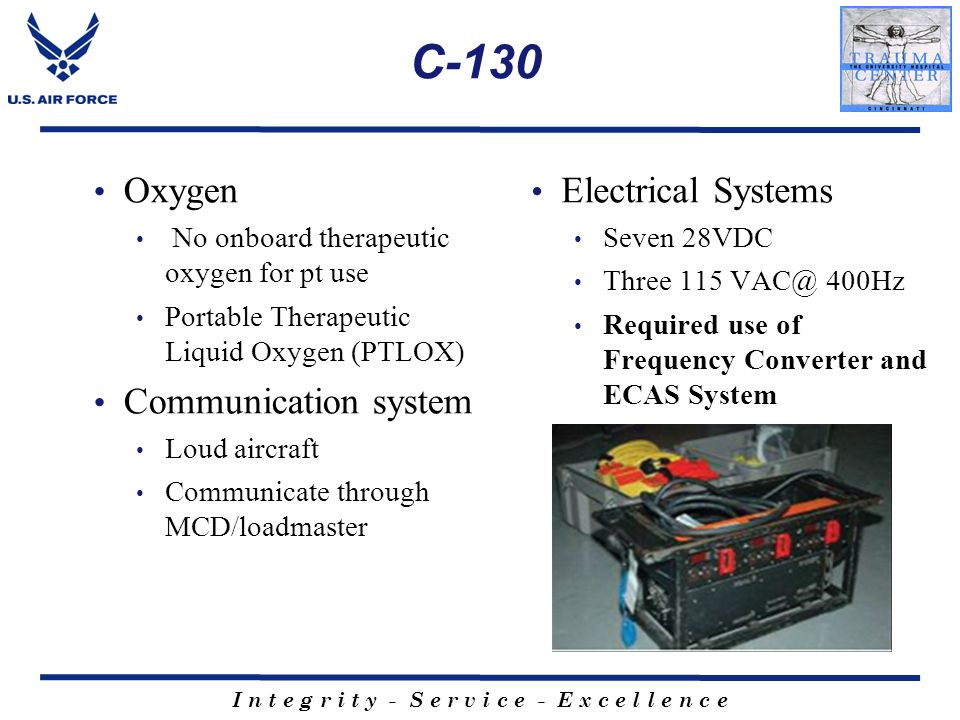 C-130 Oxygen Communication system Electrical Systems