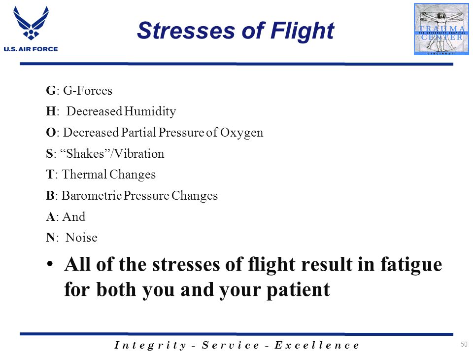 Stresses of Flight G: G-Forces. H: Decreased Humidity. O: Decreased Partial Pressure of Oxygen. S: Shakes /Vibration.