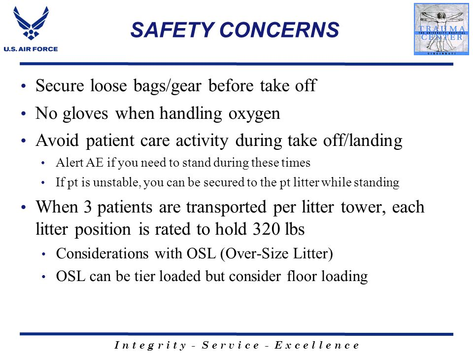 SAFETY CONCERNS Secure loose bags/gear before take off