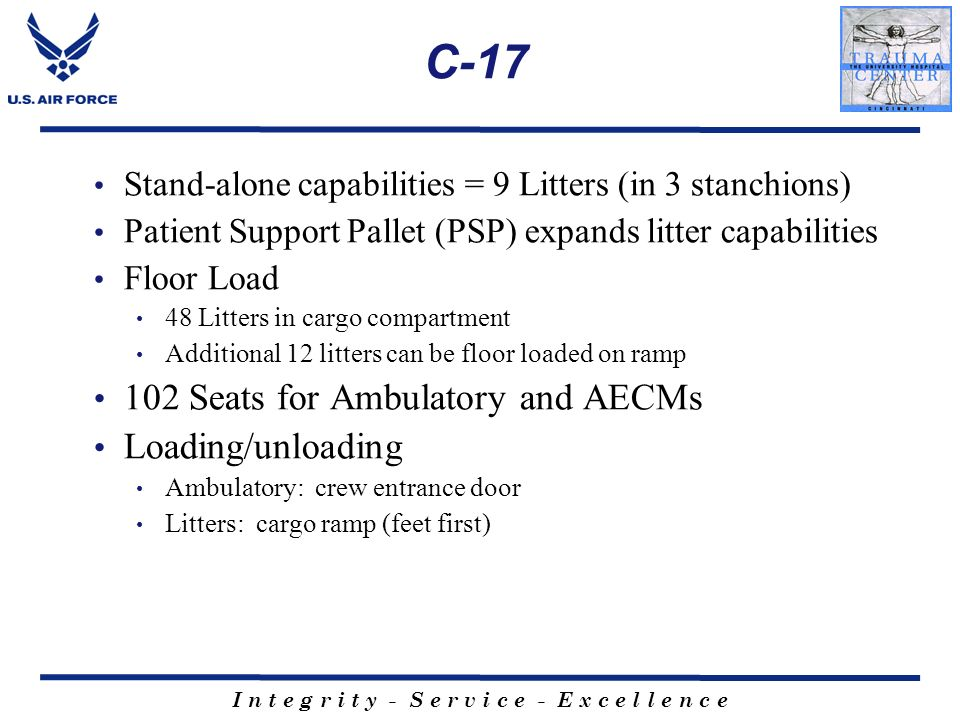 C-17 102 Seats for Ambulatory and AECMs Loading/unloading
