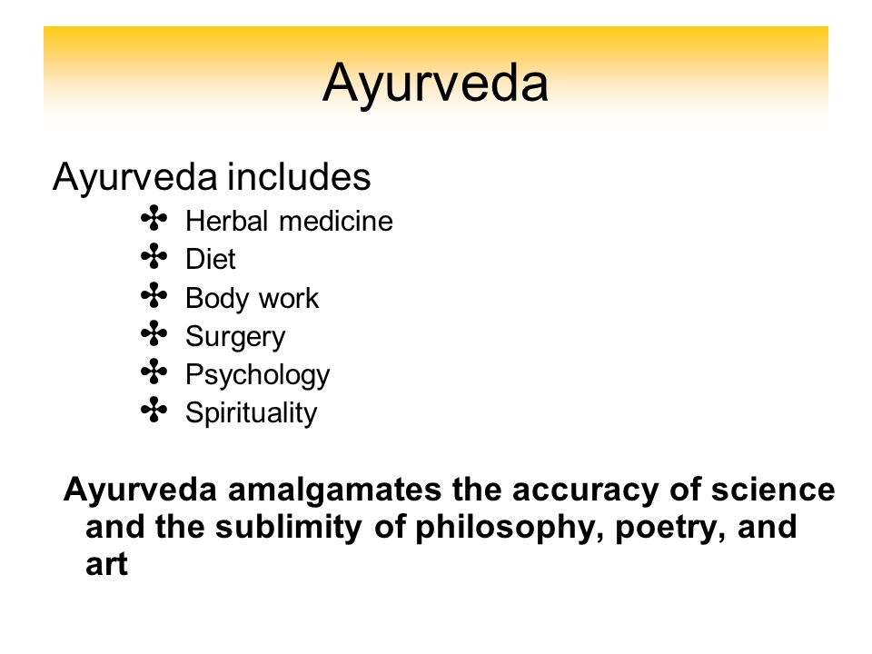 Ayurveda Ayurveda includes