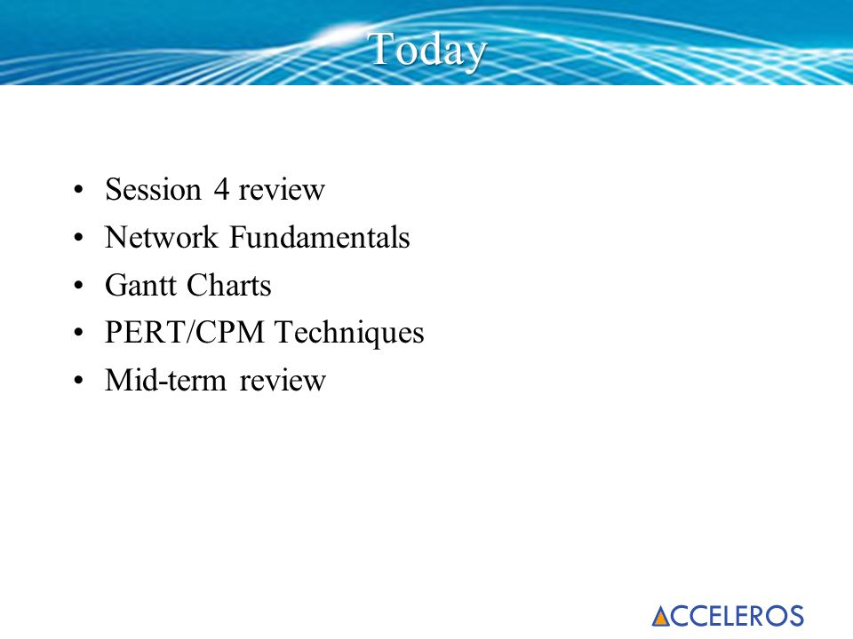Today Session 4 review Network Fundamentals Gantt Charts