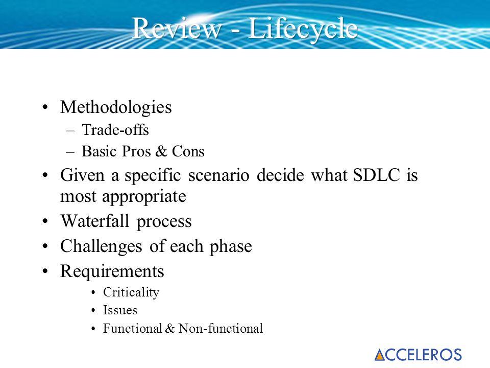 Review - Lifecycle Methodologies