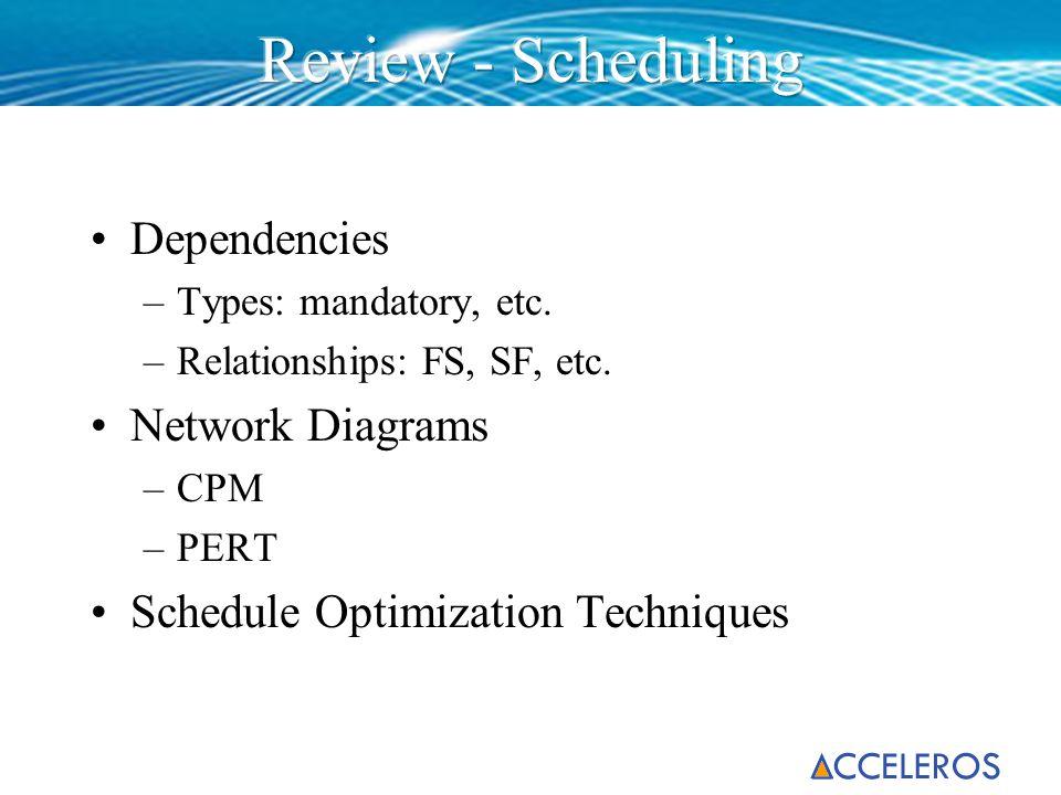 Review - Scheduling Dependencies Network Diagrams