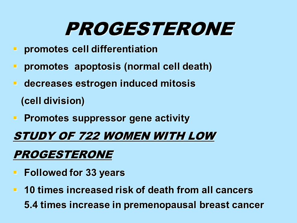 PROGESTERONE STUDY OF 722 WOMEN WITH LOW PROGESTERONE