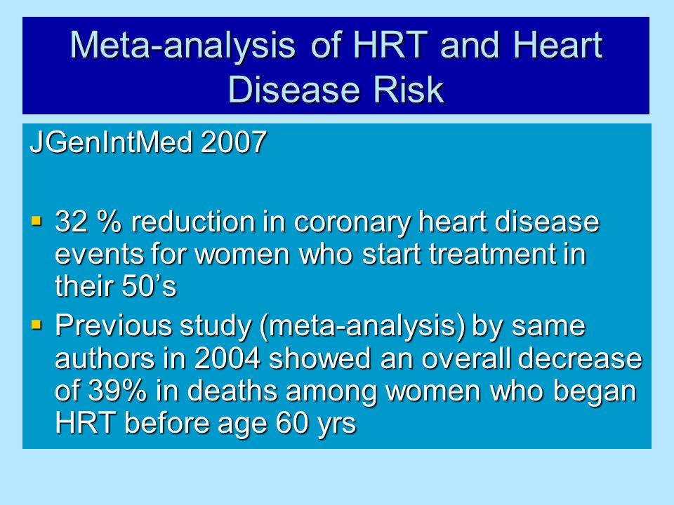 Meta-analysis of HRT and Heart Disease Risk