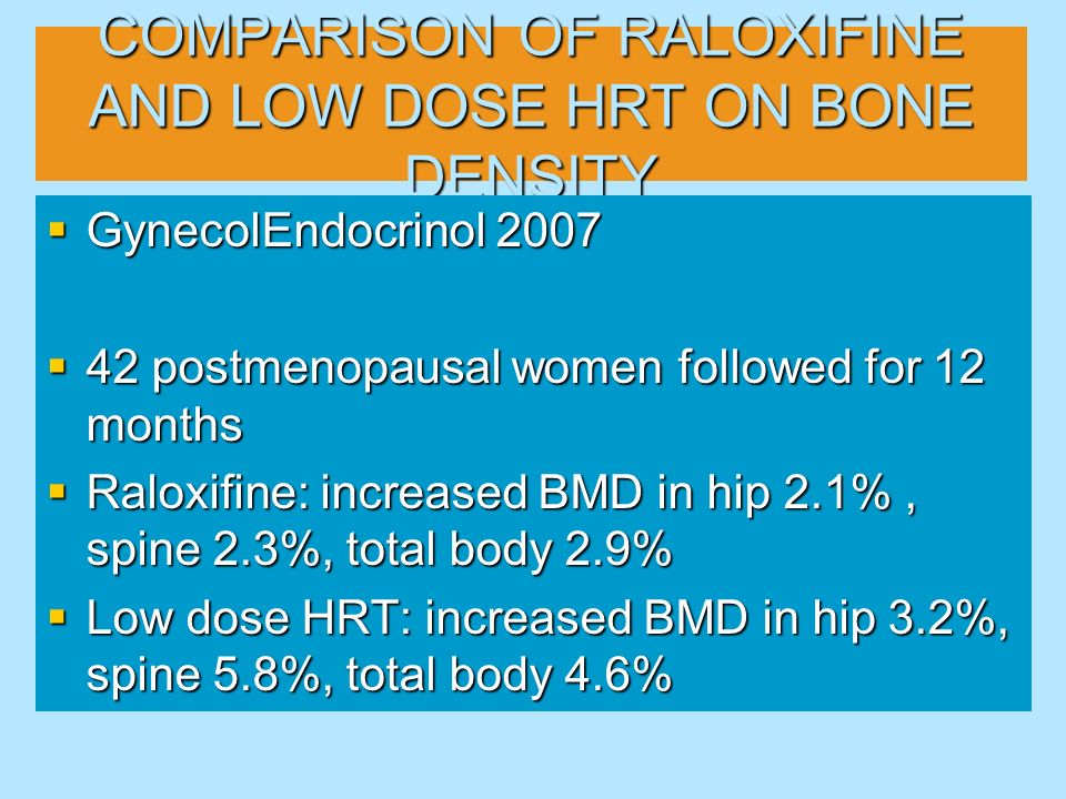 COMPARISON OF RALOXIFINE AND LOW DOSE HRT ON BONE DENSITY