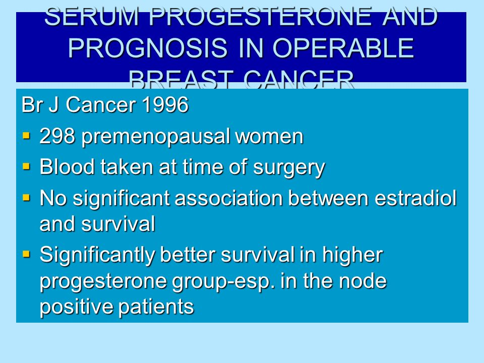 SERUM PROGESTERONE AND PROGNOSIS IN OPERABLE BREAST CANCER