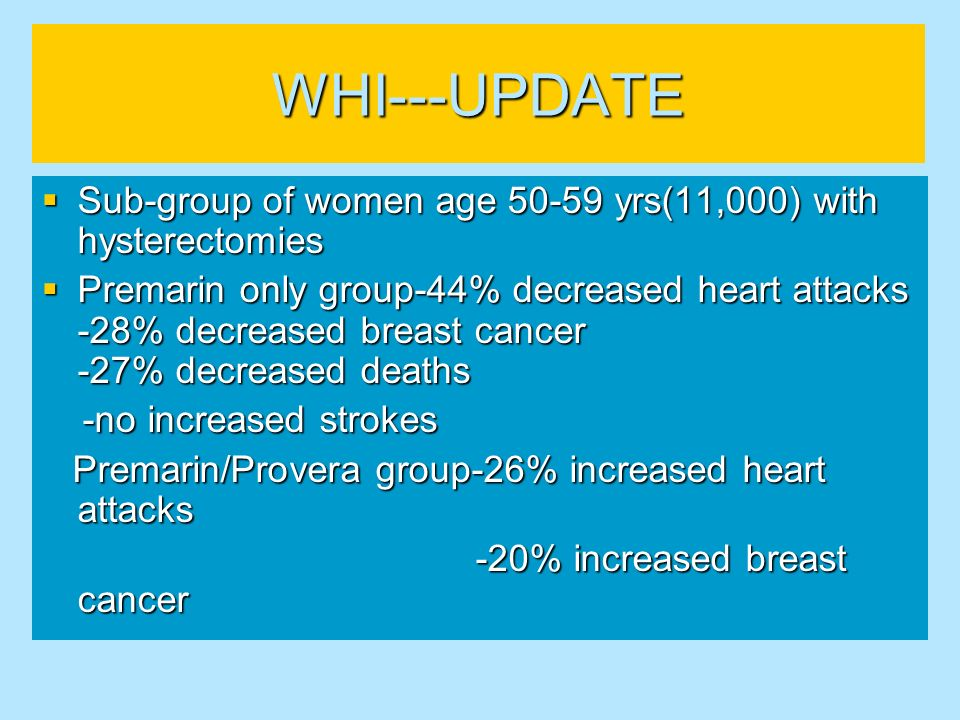 WHI---UPDATE Sub-group of women age yrs(11,000) with hysterectomies.