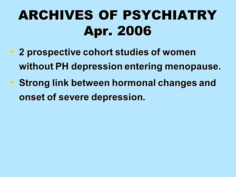 ARCHIVES OF PSYCHIATRY Apr. 2006