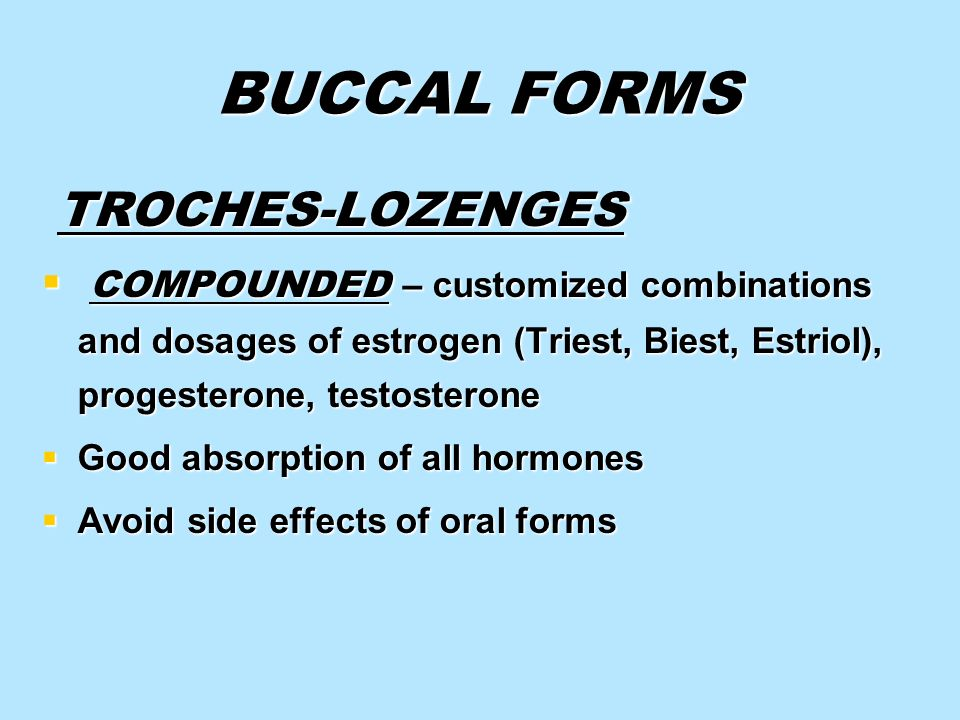 BUCCAL FORMS TROCHES-LOZENGES